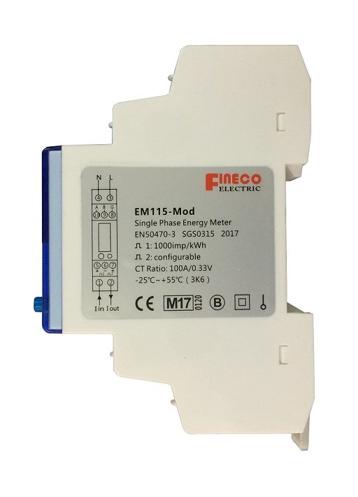 EM115-Mod MID approved 230V 100A/330mv ac input modbus single phase din rail energy meter 18mm wide