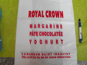 Cameroun Dairy Industry Royal Crown Logo Cheap Plastic Shopping Bag