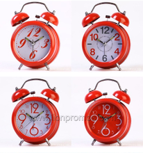 Custom Printing Stainless Steel Quatz Two Tell Alarm Clock