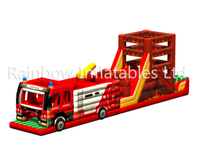 RB5201(16x2.3x5m)Inflatable Rainbow fire engine Obstacle Course new design
