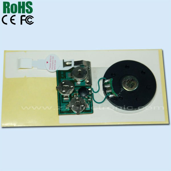 Custom recordable music chip for greeting card