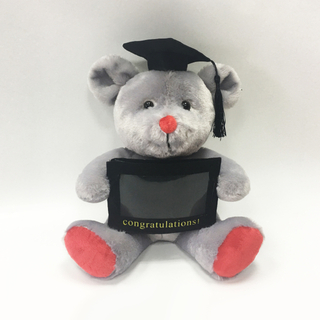 8inch Sitting Plush Graduation grey mouse with fram