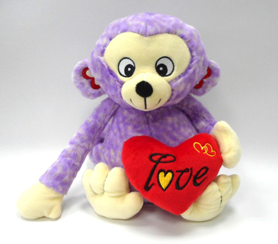 Cuddly Valentine Stuffed Plush Toy Monkey with Heart