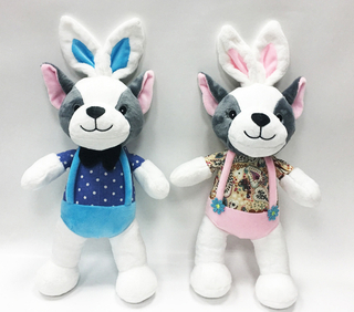 Lovely Dressed Couple Plush Dog Toys Stuffed With Rabbit Ear