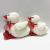 White Stuffed Animal Plush Duck Toy with Bow for Kids