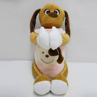 "11 "" Cute Dog Toy Stuffed Animal Plush Pillow Blanket"
