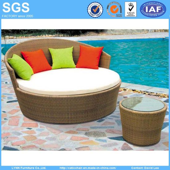 Garden Furniture Wicker/Rattan Daybed with Coffee Table