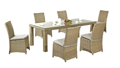 Round Ratan Dining Chairs and Table Garden Furniture