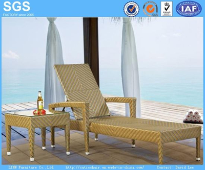Rattan Furniture Fish Bone Tight Weaving Wicker Sun Lounger