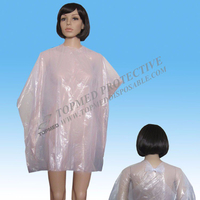 Beauty Salon Use Disposable PE Colorful Cutting Cape