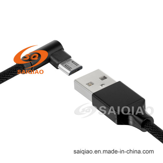 Mirco-USB Elbow Cloth Braided Charging Data Cable for Android