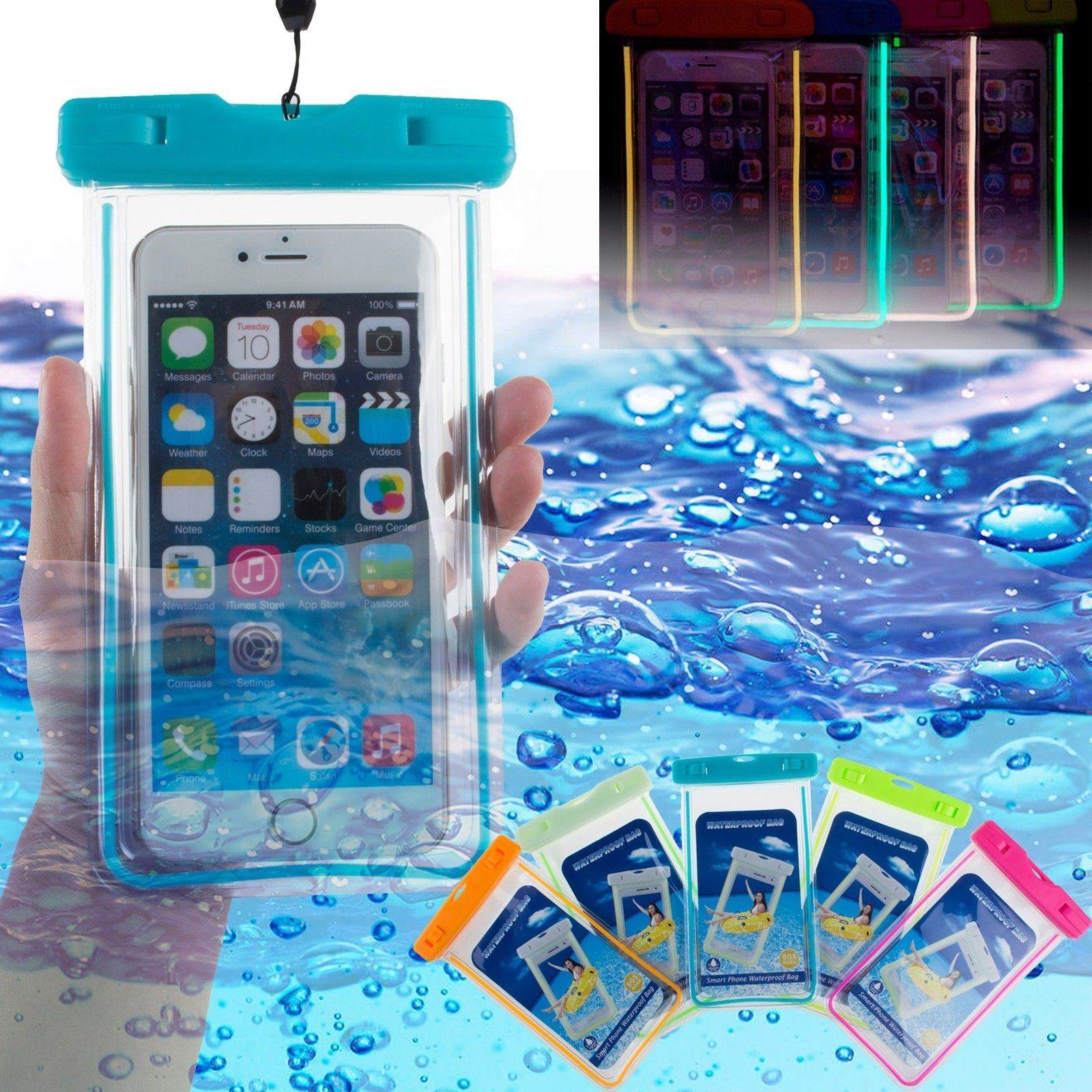 Universal Fluorescence Phone Case Water/Dustproof Bag for 5.5 Inches