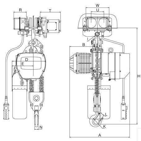 5t 电动小车式链式葫芦简图