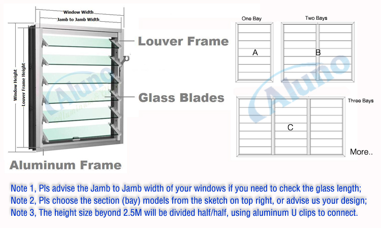 Customized Glass Blade Jalousie Window With Security Bars