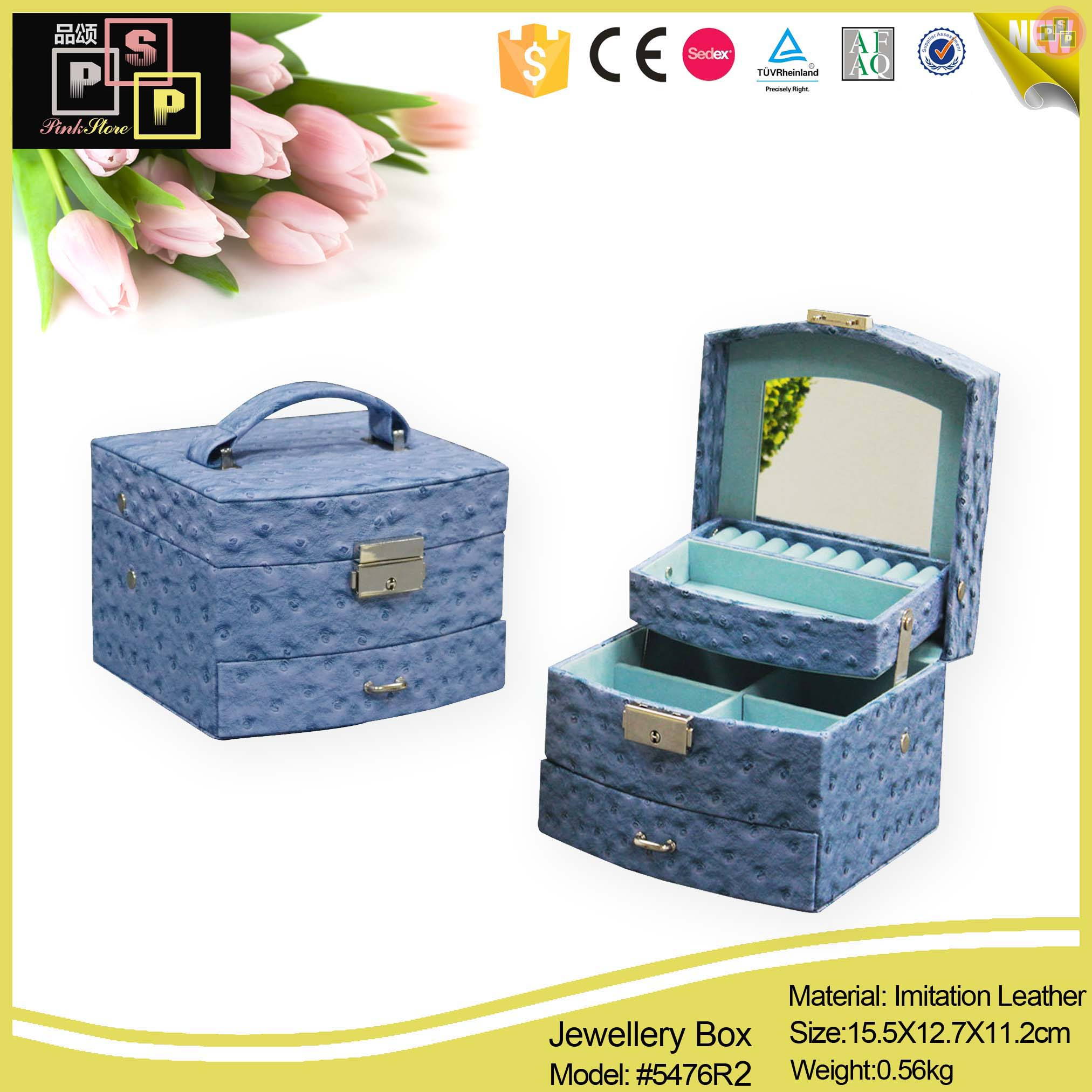 Printed leather jewelry box style guru fashion glitz for Custom jewelry packaging manufacturers
