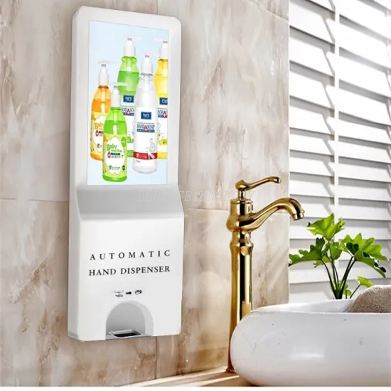 "21.5"" FHD Automatic Hand Sanitizer Dispenser+WiFi RJ45 Standing Auto Hand Sanitizing Billboards"