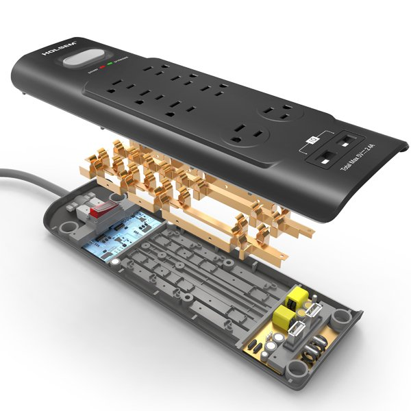 Surge Protector 8 Outlets 2 Smart USB Ports Black