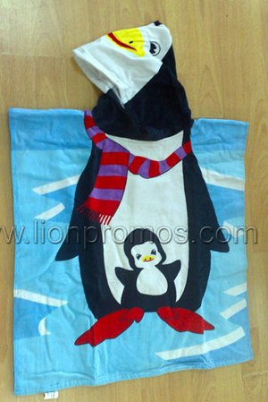 Cartoon Design Cotton Velvet Beach Poncho