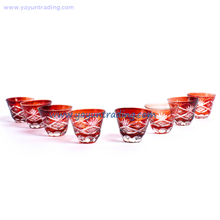 popular 8pcs glass bowl set Amber Color glass tea cup set