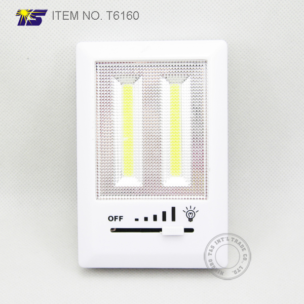 Battery operated wall mounted COB LED cordless switch night light with Dimmer