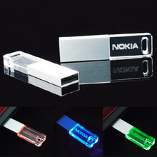Engrave logo crystal usb flash drive with led light