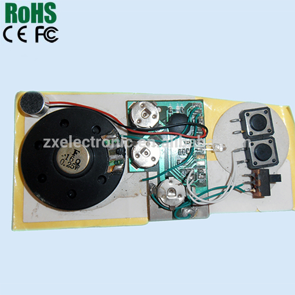 Custom recordable sound module for greeting card and postcard