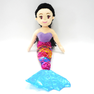 Cute Rainbow Fabric Plush Stuffed Mermaid Girl Toy Baby Doll