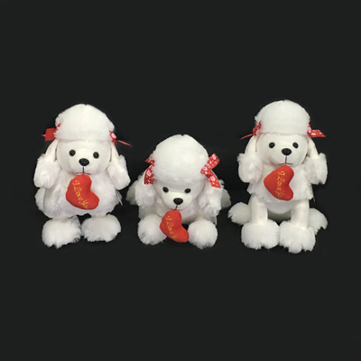 Custom White Stuffed Plush Soft Dog Toys with Red Heart