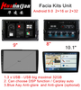 "10.1""Facia Kits Unit Android 9.0 Car Stereo Blue Aay Anti-glare And Anti-glare USB Big Maximal 32GB"