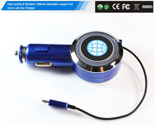 1200mA retractable micro usb output car charger