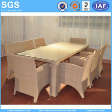 Outdoor Restaurant Rattan Furniture 8 Seater Dining Set Table and Chairs