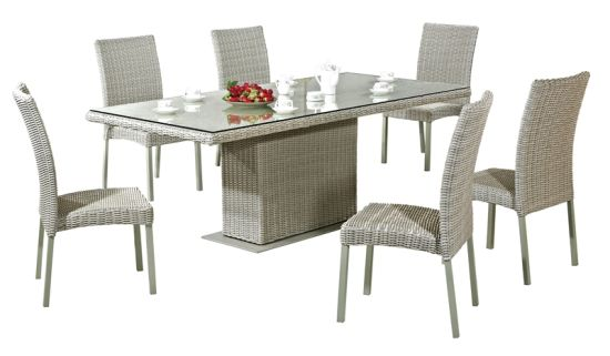 Outdoor Dining Table Set Rattan Chairs Garden Furniture