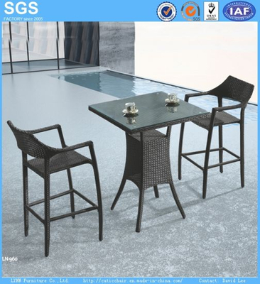 PE Rattan Bar Furniture Outdoor Bar Table and Stools