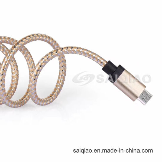 Spot USB2.0 Spun Gold Braided Lightning Cable for iPhone
