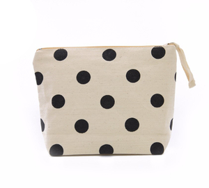Black Polka Dot Nature Cotton Canvas Cosmetic Bag