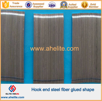 Hook end steel fiber glued shape