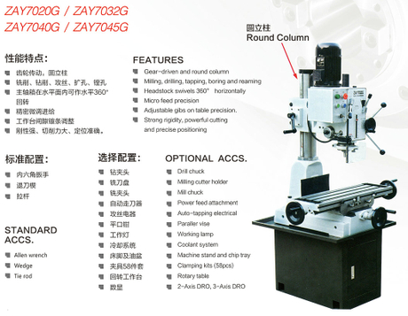 ROUND COLUMN GEAR HEAD DRIVE DRILLING AND MILLING MACHINE ZAY7025G-ZAY7032G-ZAY7040G-ZAY7045G