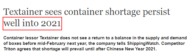 shortage of container 1