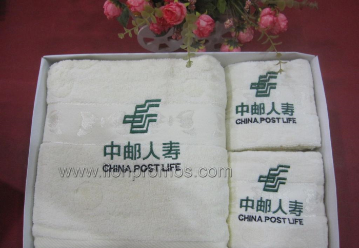 Bank&Insurance Logo Embroidery Promotional Cottton Towel Set Gift Box
