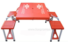 Outdoor Camping Work Trade Show Plastic Folding 4seats Table with Umbrella Hole