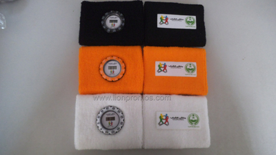 Telecome Logo Sports Cotton Sweat Band with Digital Watch