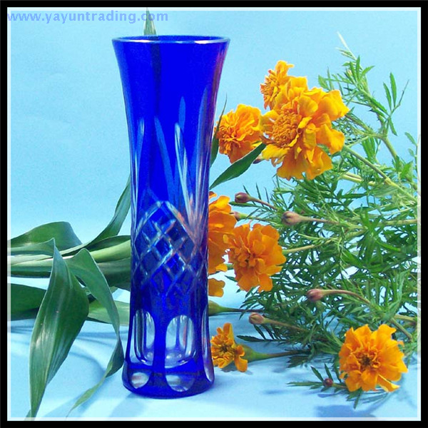 Cobalt blue Bohemian Czech hand etched glass flower vase
