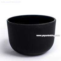 wholesale short curved bottom matte black glass candle container