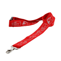 Custom red silk screen white logo lanyards with metal hook for id holder