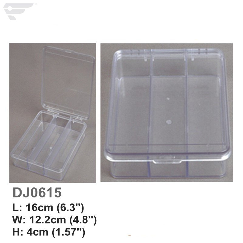 DJ0615 Clear Lids & Bottom 3 Compartment Plastic Box