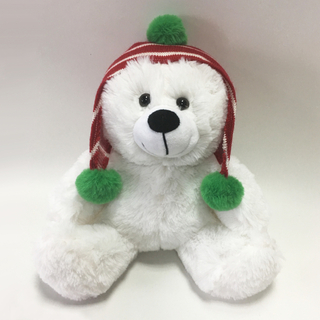 Christmas plush toy white bear with hat