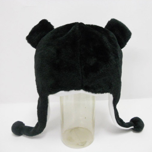 Soft Plush Toy Black Bear Winter Hat for Kids