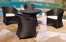 Outdoor Bistro Set Rattan Chairs with Coffee Table