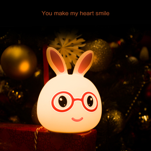Cute LED Children Night Light Kids Silicone Rabbit Lamp 7 Colors USB Rechargeable Lighting Warm Light