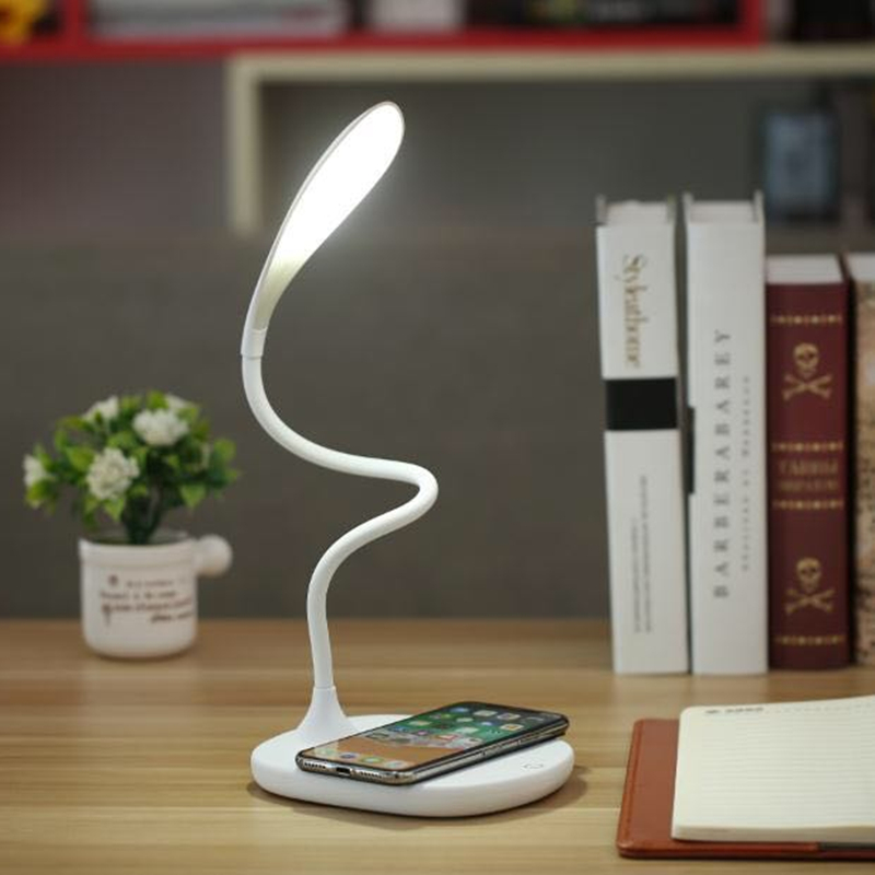 LED QI Wireless Charger for IPhone Universal QI Wireless Fast Charger with LED Table Lamp Desktop Fast Wireless Charger for Mobile Phone